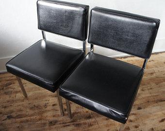 1960 S Minimalist Side Chairs Black Vinyl Chrome Pair Edit Listing Etsy Side Chairs