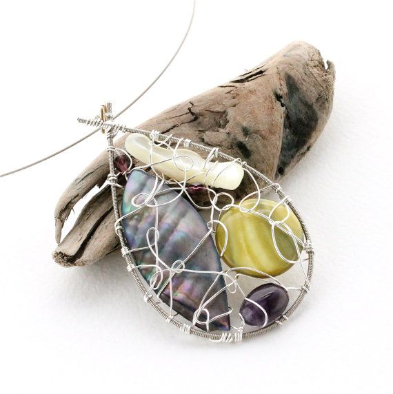 Reclaimed Guitar String Beaded Pendant - Wire Wrapped Teardrop Necklace - Recycled Materials
