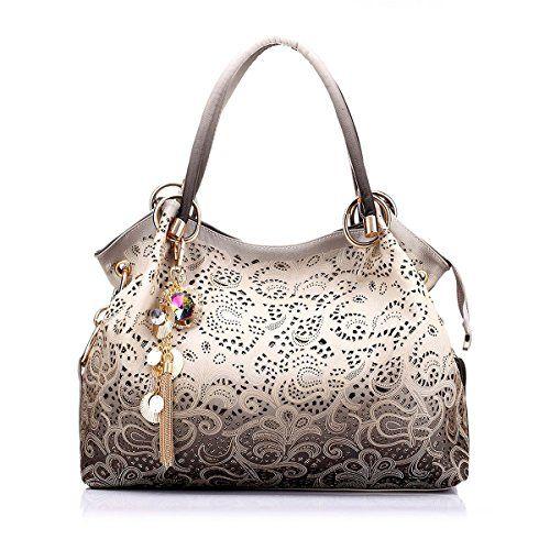 Women Shoulder Bag Purse Tote Handbag Fashion Tassel PU Leather Hollow Out Gradient Color Silver By Celsino - http://leather-handbags-shop.com/women-shoulder-bag-purse-tote-handbag-fashion-tassel-pu-leather-hollow-out-gradient-color-silver-by-celsino/