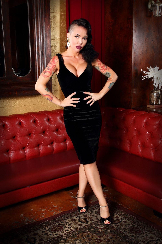Laura Byrnes Gilda Dress in Black Velvet   Vintage Style Cocktail ...