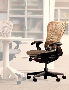 Herman Miller Mirra Chair Graphite Frame Cappuccino Backrest By