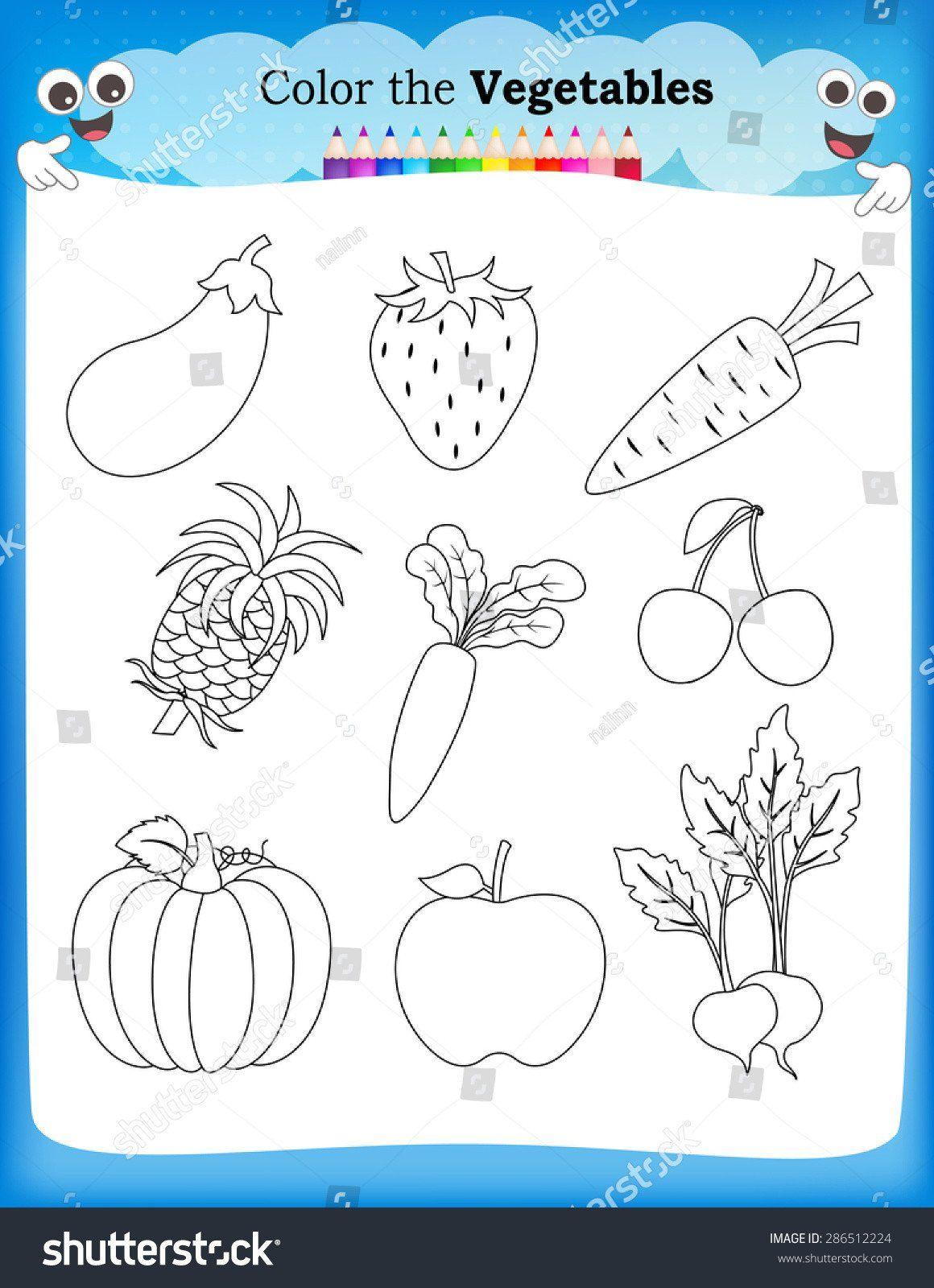 Vegetables Worksheets For Kindergarten Fruits And Ve Ables