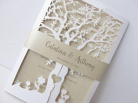 Fall Wedding Invitation, Laser Cut Tree Wedding Invitation, Tree Wedding  Invite, Rustic Wedding Invitation, Autumn Wedding TREE   1 WHITE