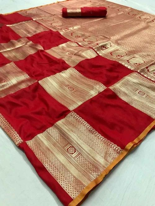Photo of Traditional Red Colored Wedding Soft Silk Saree