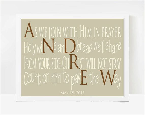Catholic Gifts First Communion Gifts For Boys Christian Wall Art Andrew 8x10 Baptism Gifts