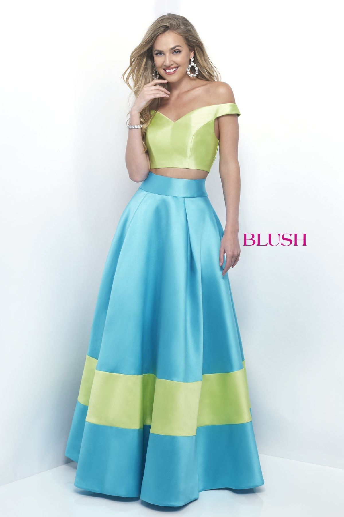 Pink by blush limeturquoise twopiece prom dress prom