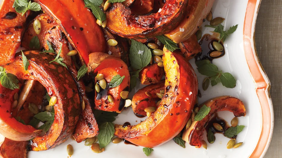 Roasted Squash with Mint and Toasted Pumpkin Seeds Recipe