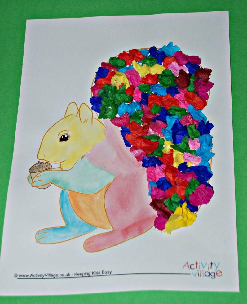 Rainbow squirrels! Made using Activity Village template, tissue - rainbow template