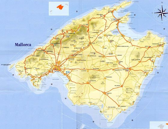 High Resolution Map Of Mallorca For Print Or Download Island