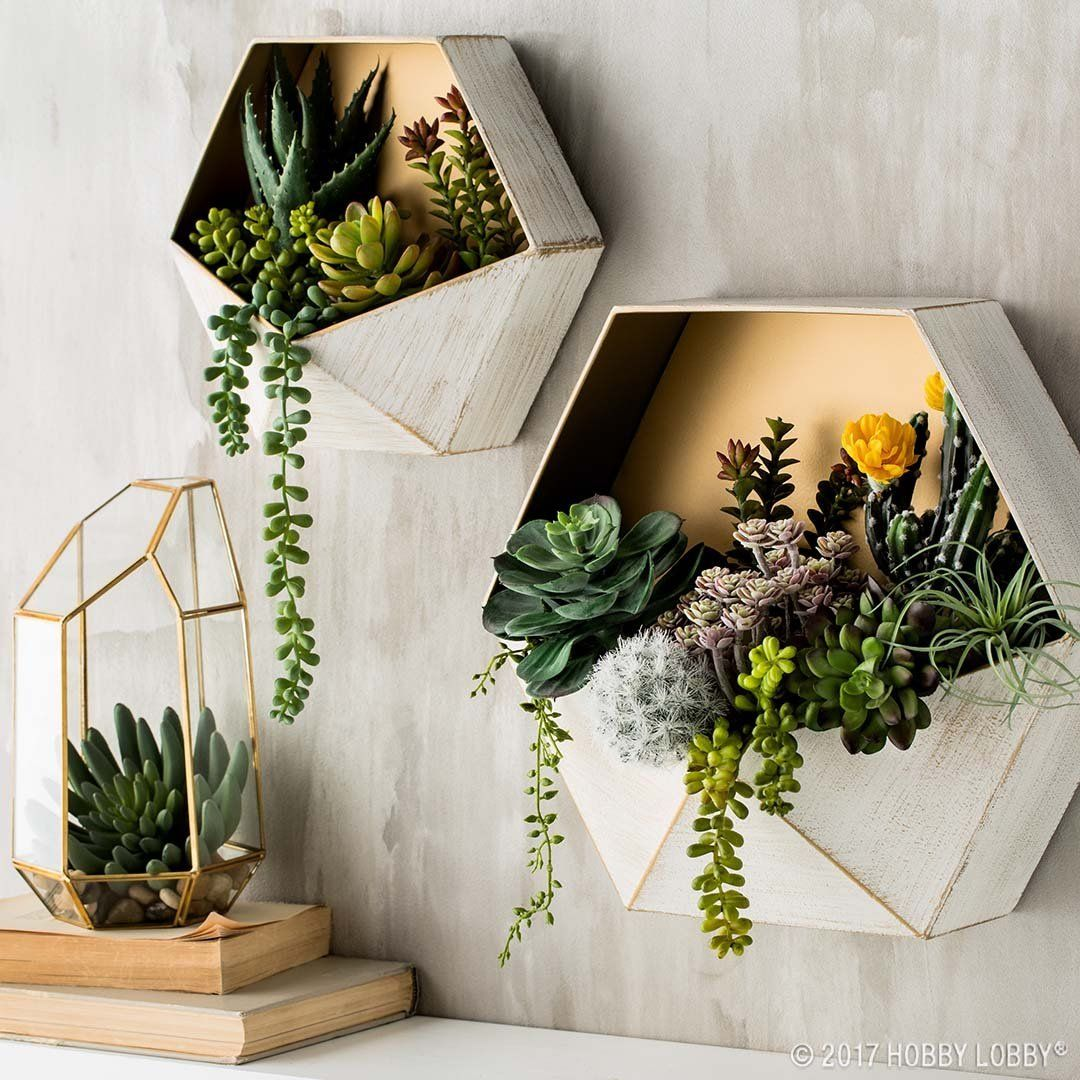 If You Re Going For A Sleek Modern Look Start With Simple Shelving Succulent Wall Art Trending Decor Geometric Planter
