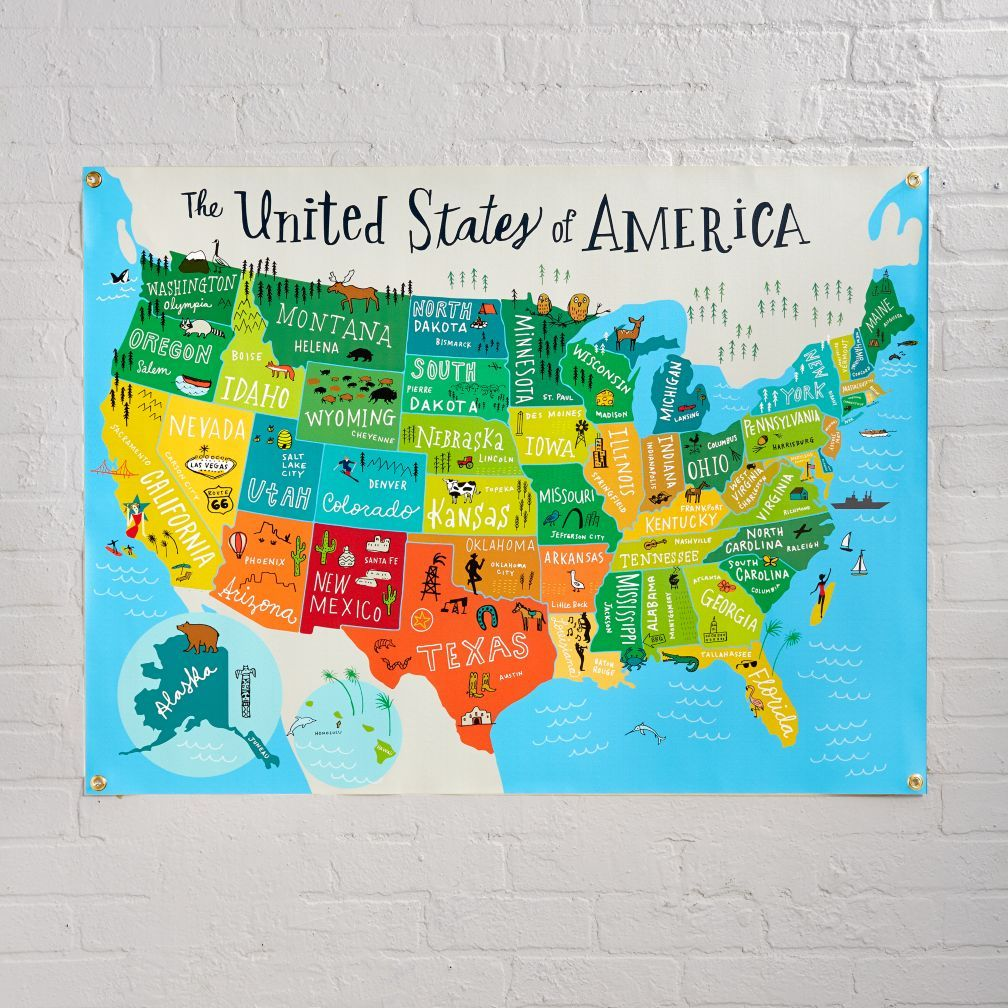 United states of america banner canvas wall art shops and nurseries shop united states of america banner this art is your art this art is gumiabroncs Image collections