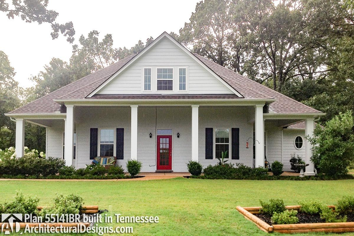 Plan 55141br Compact Charming House Plan With 2 Car Garage Option In 2020 House With Porch House Plans Charming House