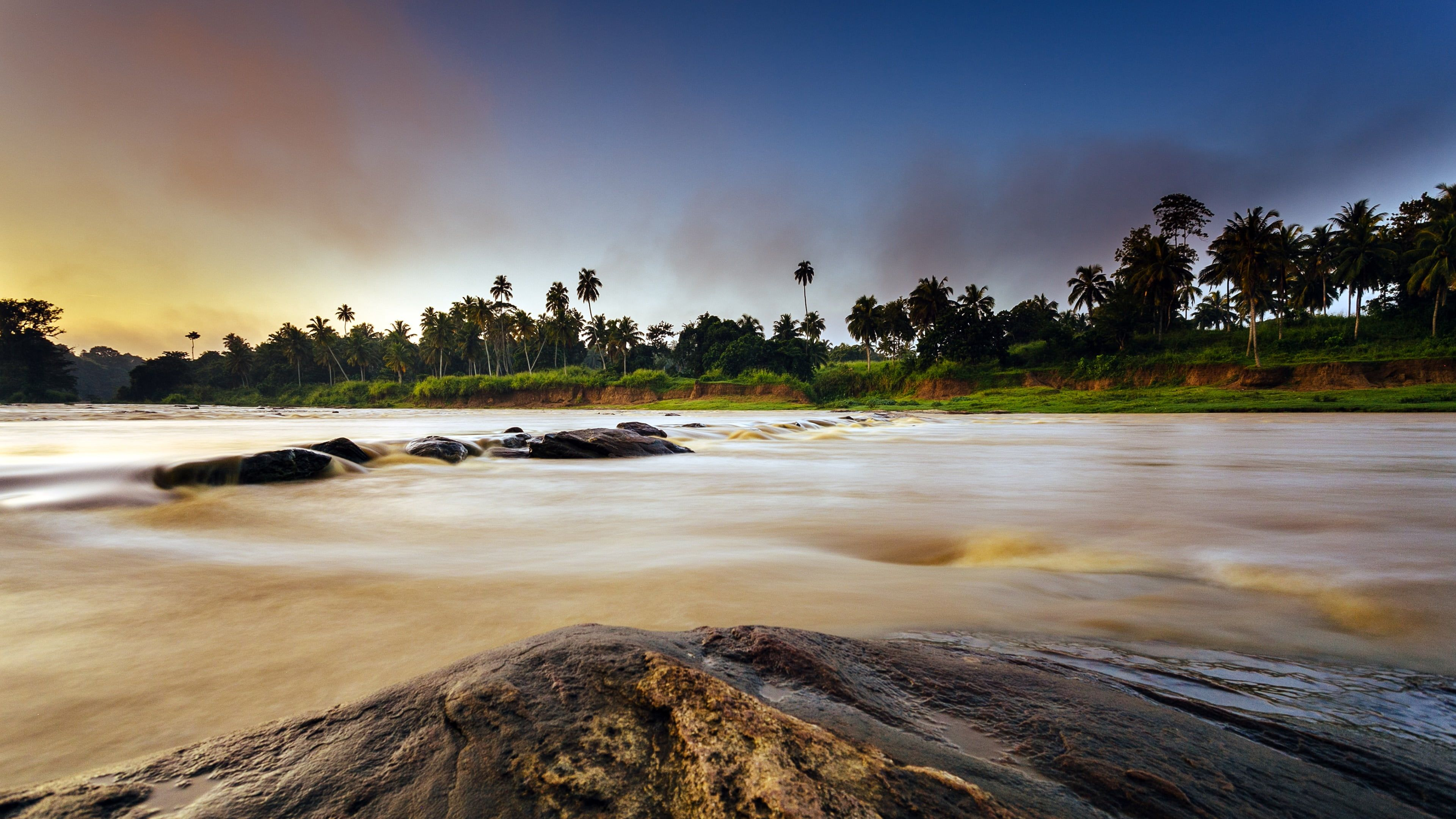 Sri Lanka Tropical Landscape Palms Landscape Pinnawala Rambukkana Asia River Sunrise Wallpaper Tropical Landscaping Computer Wallpaper Desktop Wallpapers