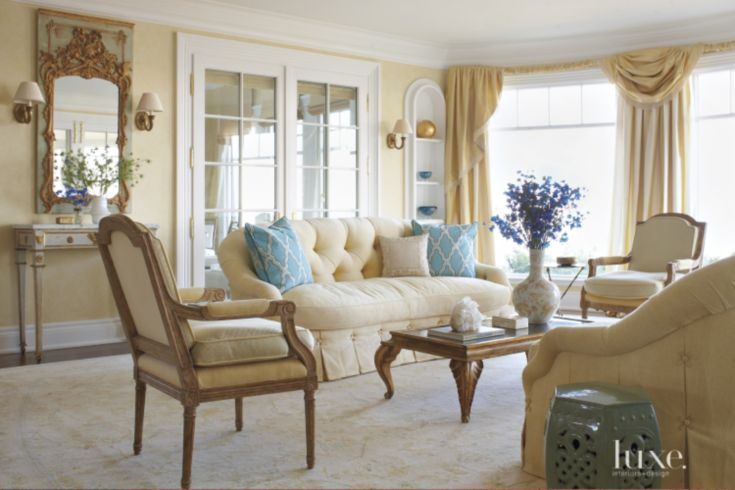 Traditional Yellow Living Room With Blue Accents With Images