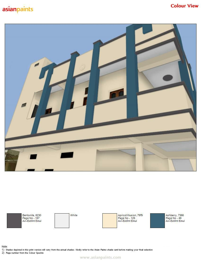 Pin By V Meegada On Top 200 Asian Paints Color Views Exterior Color Combinations House Paint Exterior Asian Paints Colours
