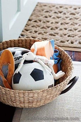 Keep toys and school bags in a large basket.