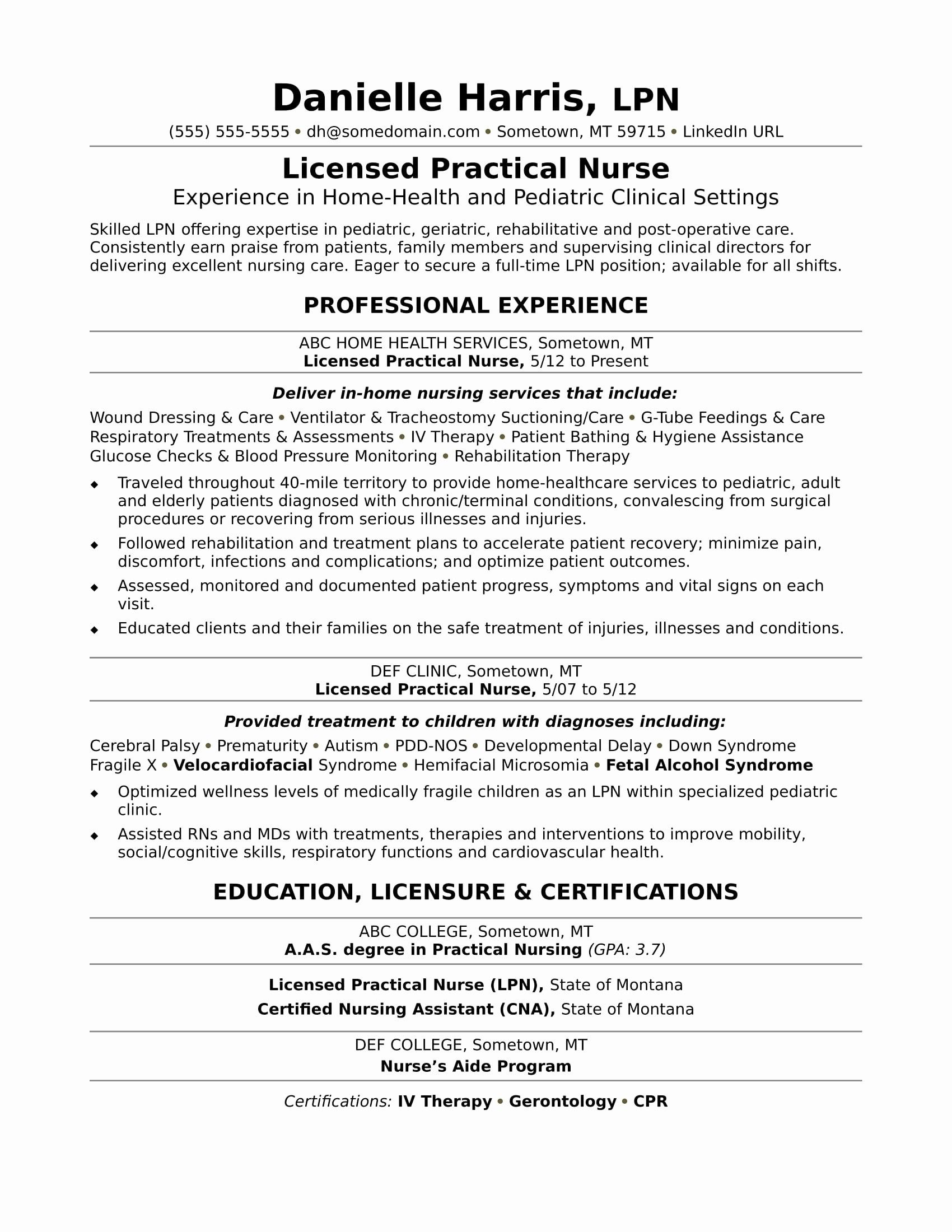 76 Luxury Stock Of Lpn Resume Examples No Experience
