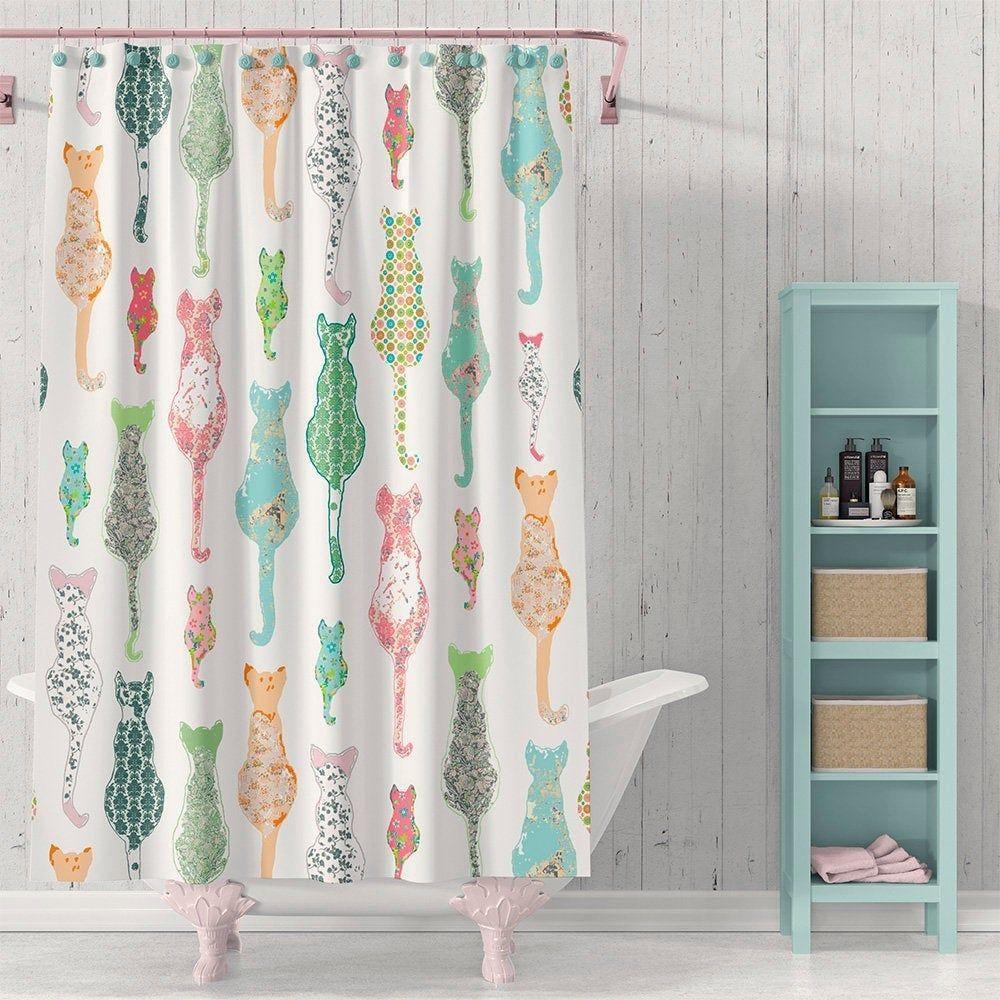 Cats Shower Curtain Cottage Chic Farmhouse Bathroom Decor Cat