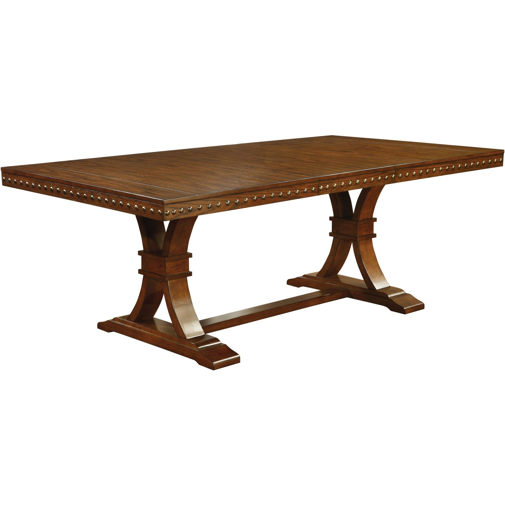 Couchtisch Montain Oak Sun Pine Nail Head Trimmed Double Pedestal Dining Table Wood