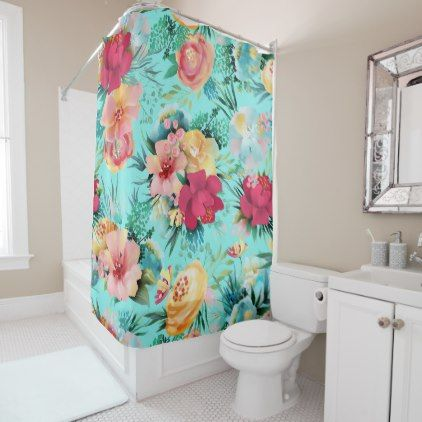 tropical colorful floral pattern turquoise shower curtain