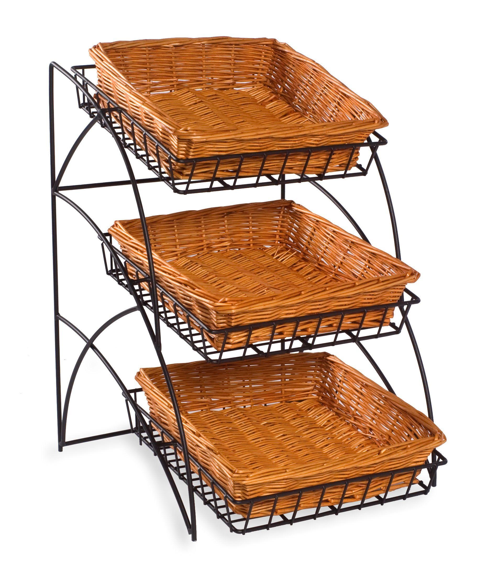 22 5 Tiered Wire Rack Countertop 3 Shelves With Wicker Baskets Black