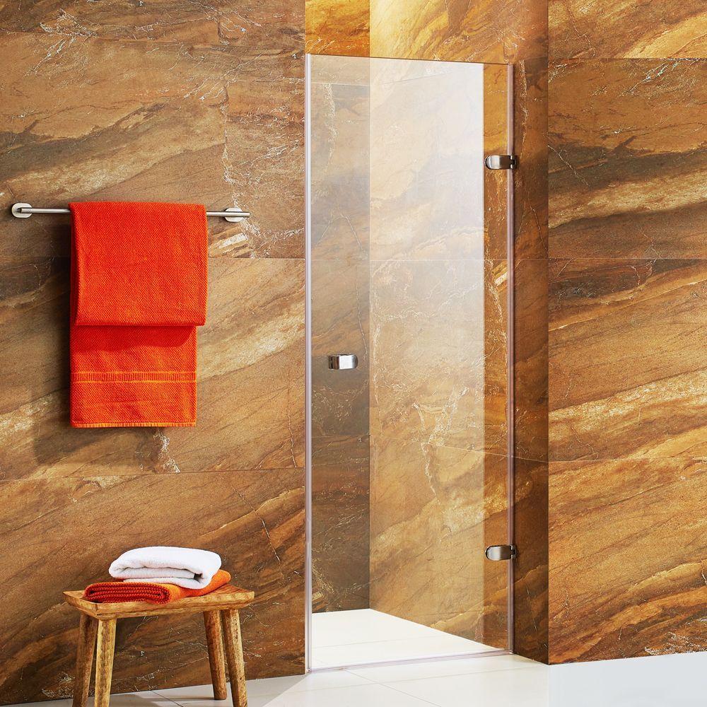 Vigo Tempo 24 Inch Adjustable Frameless Shower Door With Clear Glass