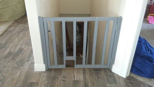 Diy Baby/dog Gate For Stairs With Cat Walk Through.