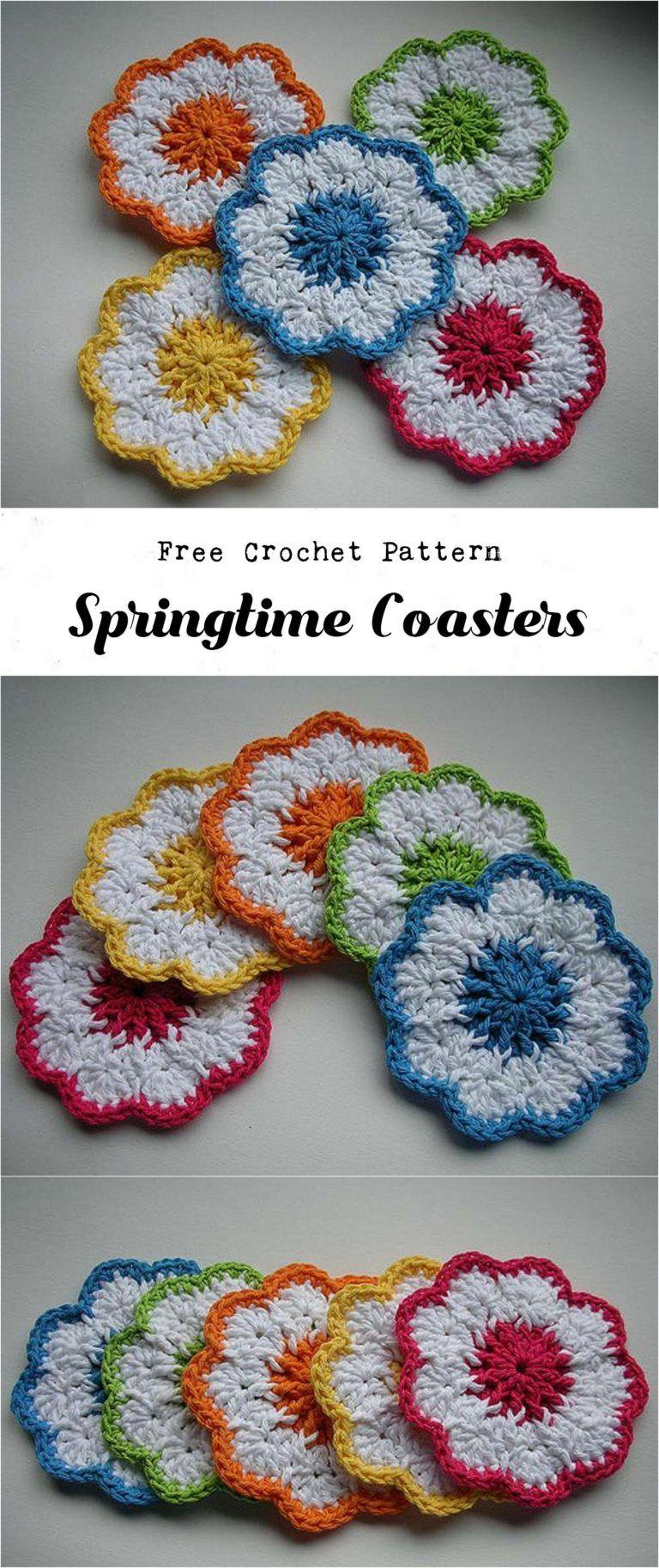 Crochet Springtime Coasters - Pretty Ideas