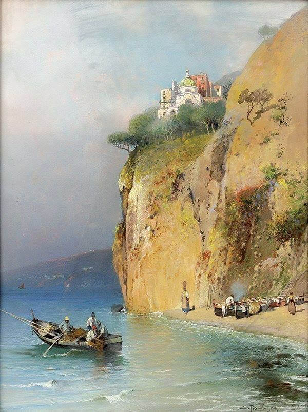 Salvatore Petruolo (Catanzaro 1857-Naples, 1946), Fishermen on the ...