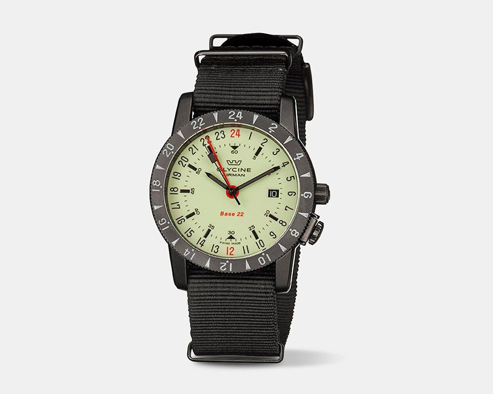 The Glycine Airman Base 22 Watch Has A Cool 24 Hour Display Airman Watches Automatic Movement