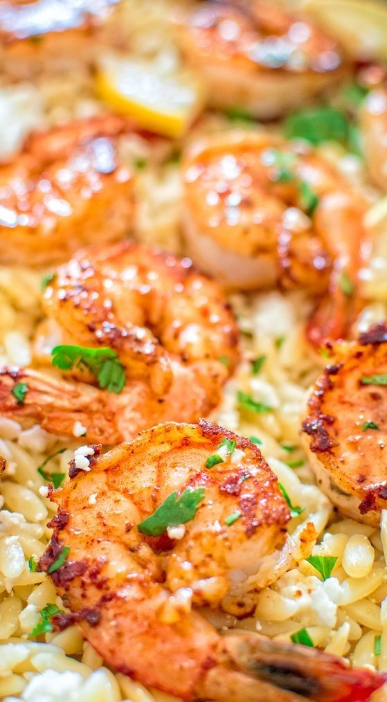 EASY ORZO WITH SHRIMP AND FETA images