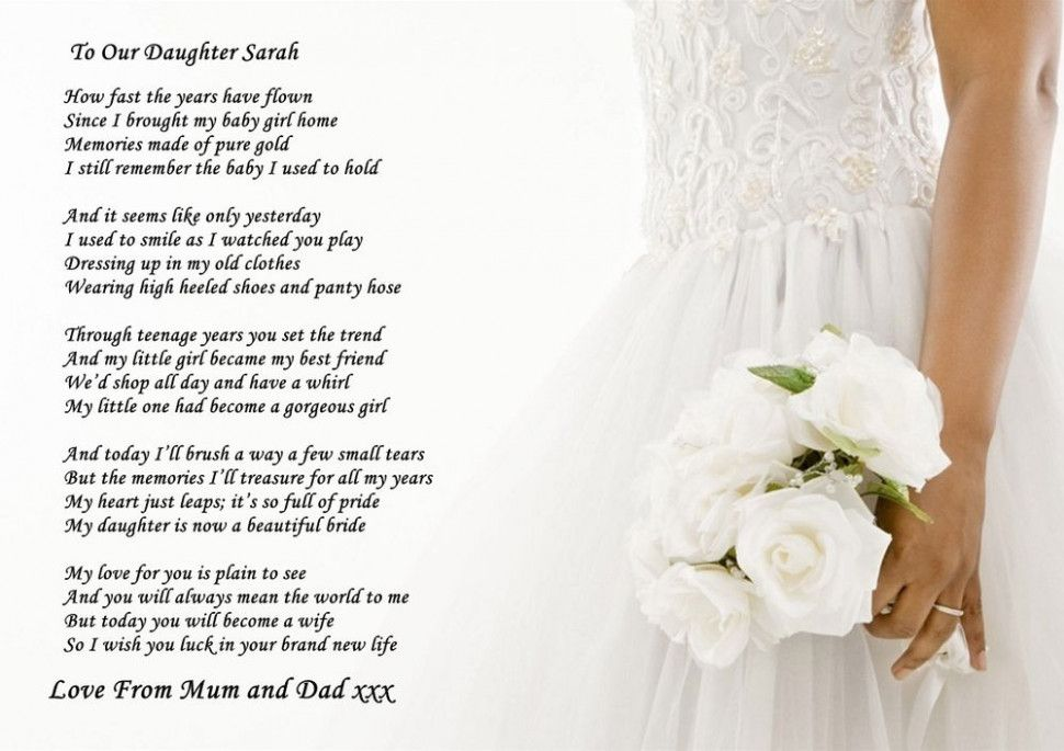 Daughter Wedding Quotes The Bride Wedding Poems Poem To My
