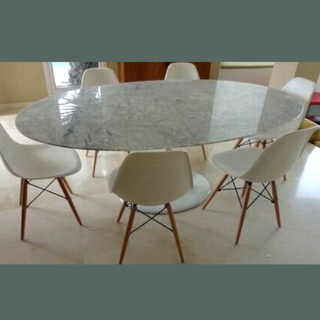 White Carrara Marble Tulip Style Dining Table Tulip Dining Table