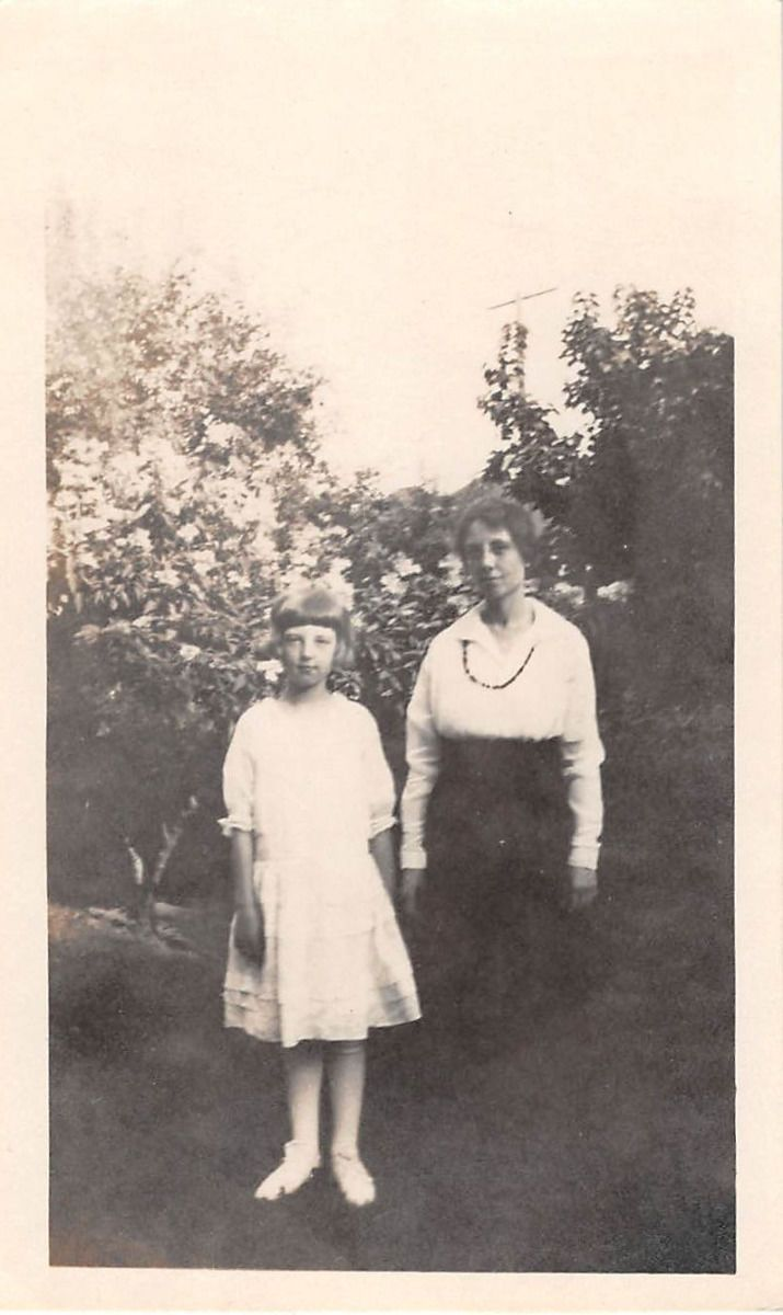 Black and White Vintage Snapshot Photograph Mom Girl Dress Flowers 1920'S | eBay