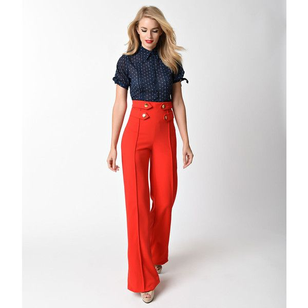 842ee9bb Retro Style Red High Waist Wide Leg Sailor Pants ($48) ❤ liked on Polyvore  featuring pants, red, white high waisted pants, white sailor pants, high  waisted ...