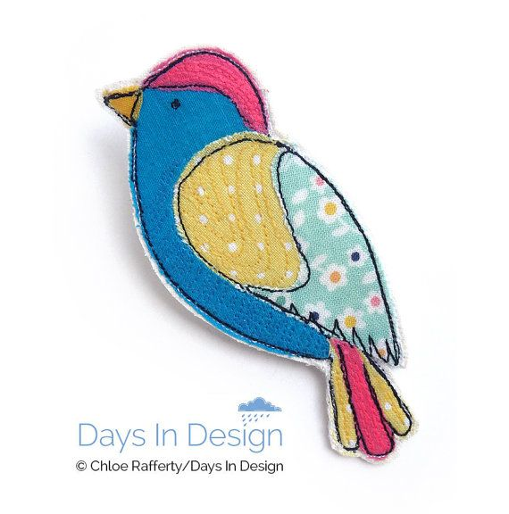 Colourful bird brooch. Fabric appliqué & machine embroidery canary badge to brighten up your outfit!