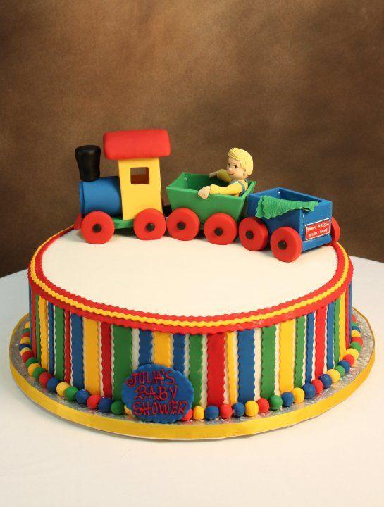 Train Baby Shower Cake Part - 24: Choo Choo Train Baby Shower Cake.