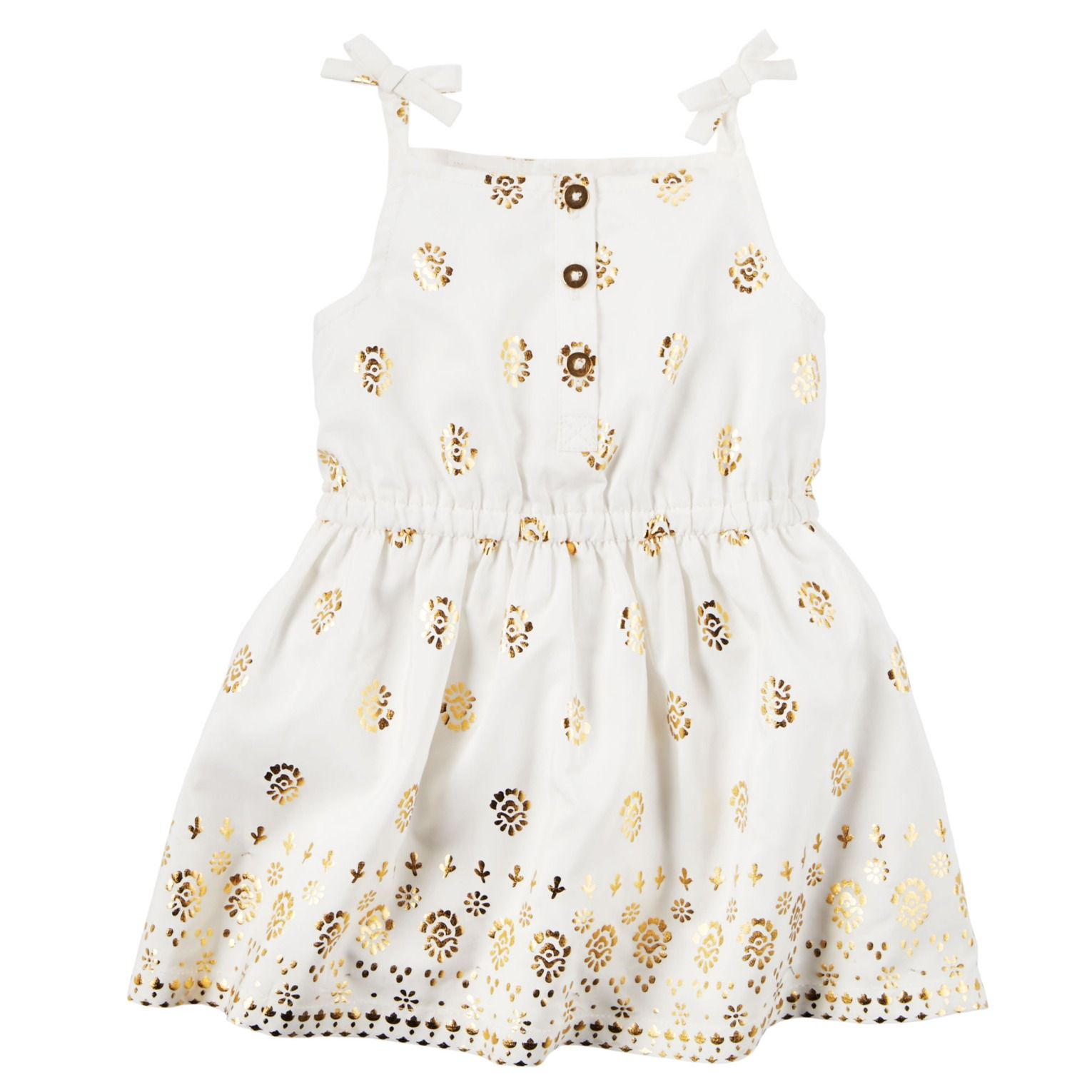e17e7397cd2f3 Crafted with a pretty gold print and bows at the straps, this cotton ...