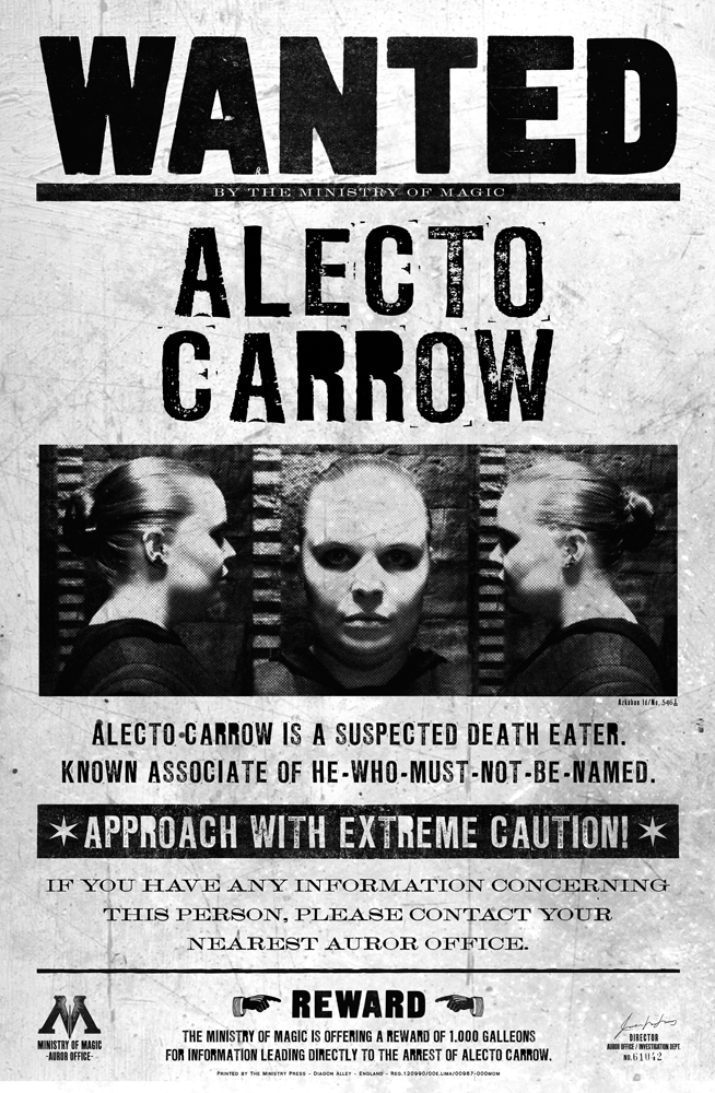 Alecto Carrow Harry Potter Printables Harry Potter Universal Harry Potter Wanted Poster