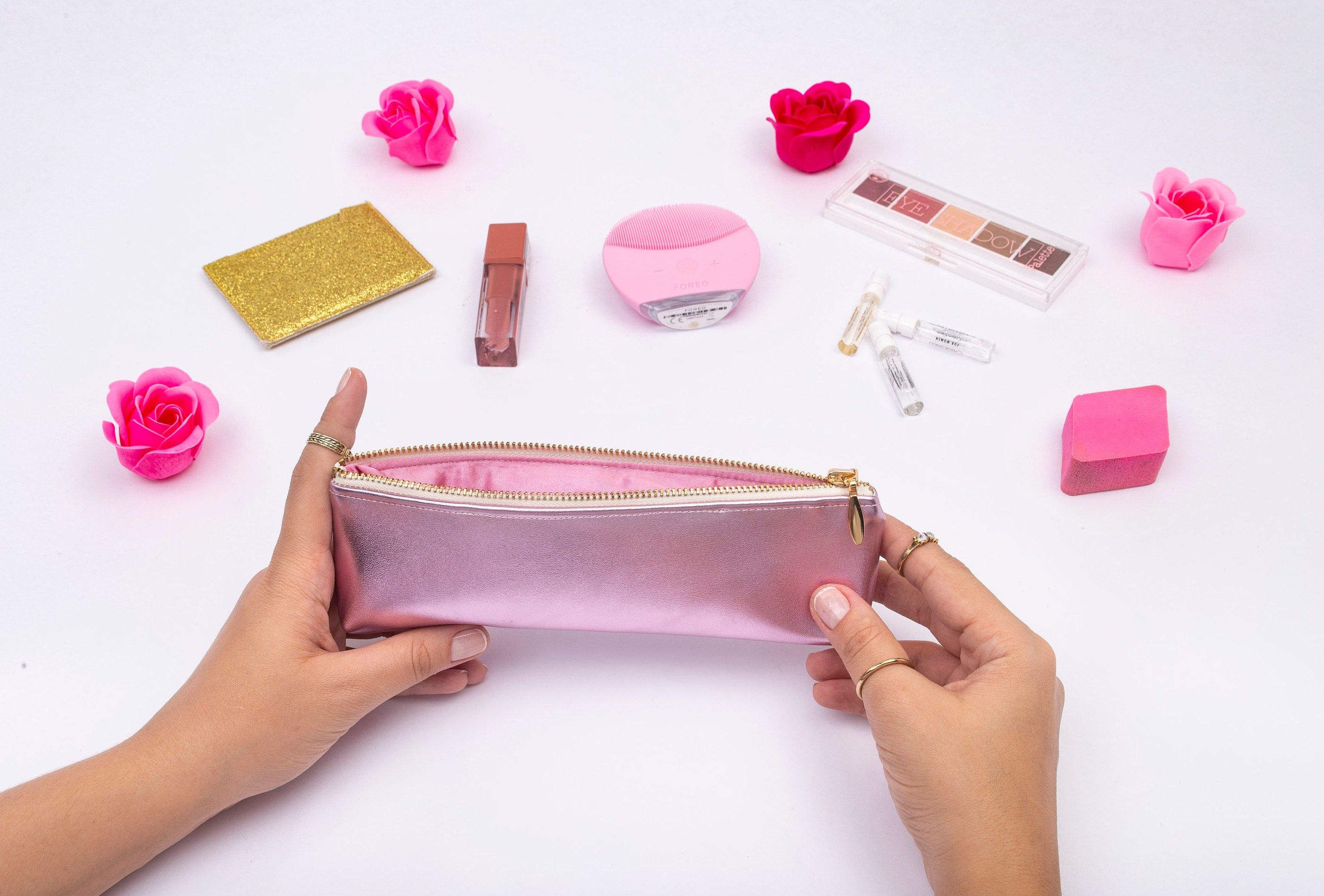 Pink Leather Pencil Case, Metallic Leather Pencil Pouch