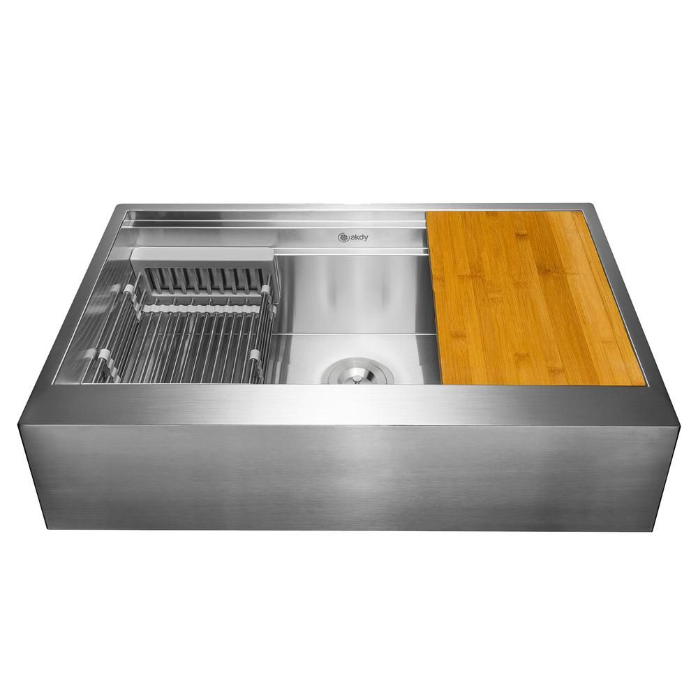 Akdy Matte Black Finished Stainless Steel 32 In X 18 In Single Bowl Drop In Kitchen Sink With Accessories Ks0518 The Home Depot Single Bowl Kitchen Sink Stainless Steel Kitchen Sink Stainless