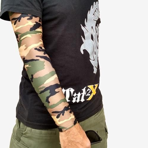 Ink Armor Tattoo Cover Up Sleeve - Full Arm Sleeve (Green Camo ...
