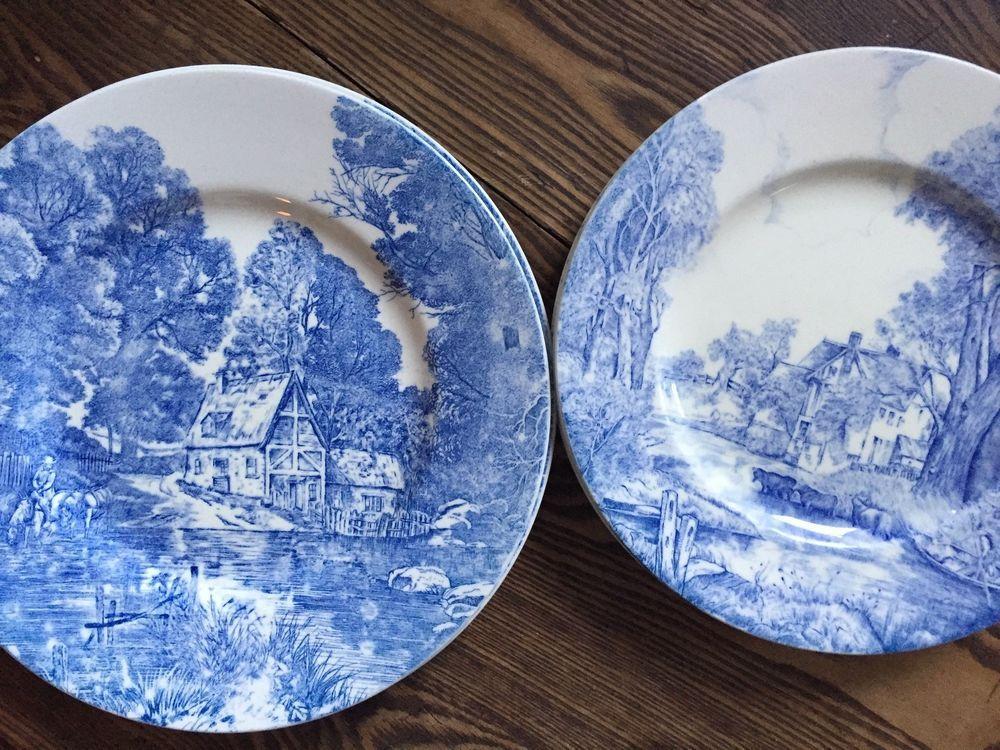 5 Vintage Minton Valley Farm Ford Blue White Transferware Cows Plates Dinner Minton Transferware Dinner Plates Childrens Dishes