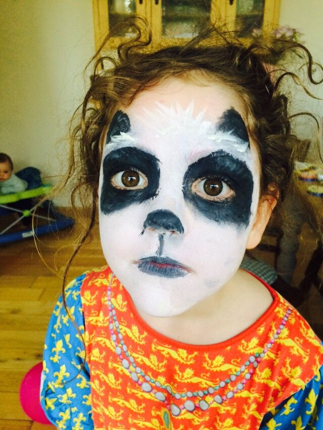 Panda face painting | Ansigtsmaling, Panda
