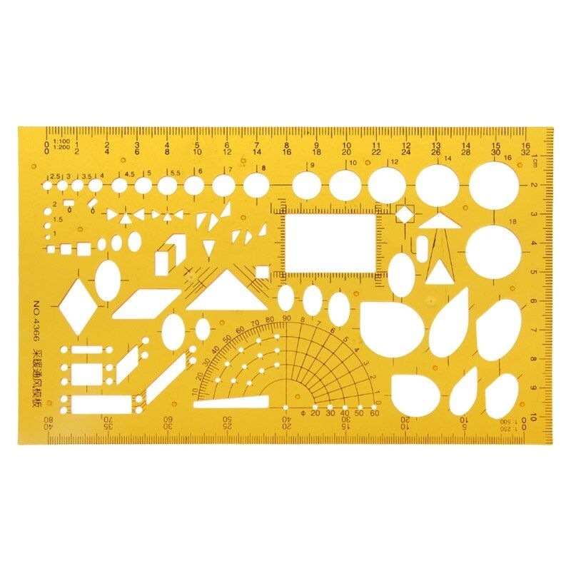 Yellow Geometric Drawing Template Ruler Yellow Stencil School Supplies