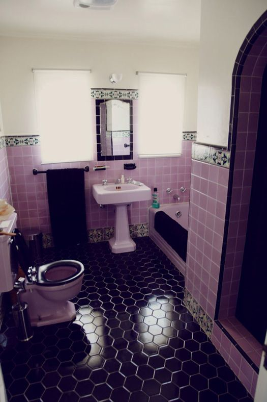 Tiling black hex floor tiles are bigger change towhite decorative border tile looks nice Purple and black bathroom ideas