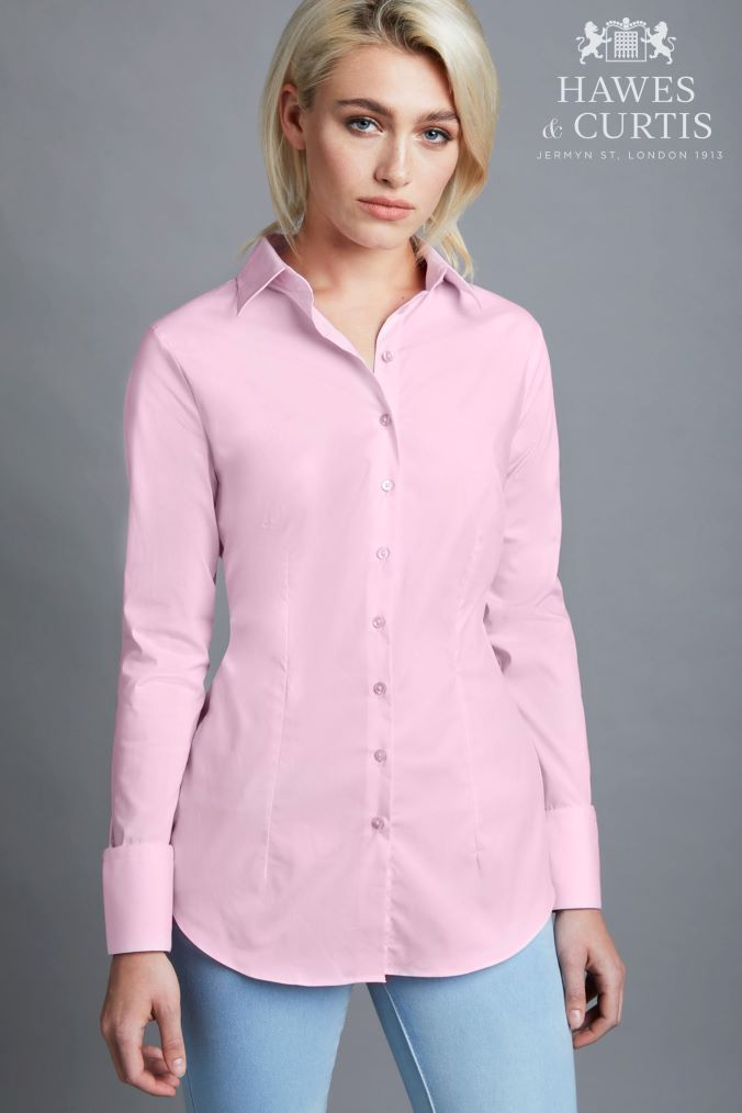 dbd19136 Womens Hawes And Curtis Pink Fitted Stretch Plain Single Cuff Shirt - Pink
