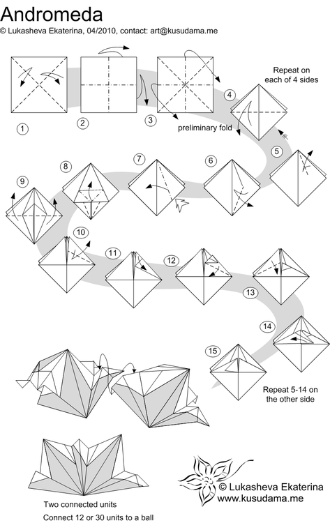 Kusudama Andromeda Folding Instructions Origami Instruction