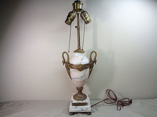 Ornate French Nouveau Marble Lamp w Swans & Faces Heavy Base