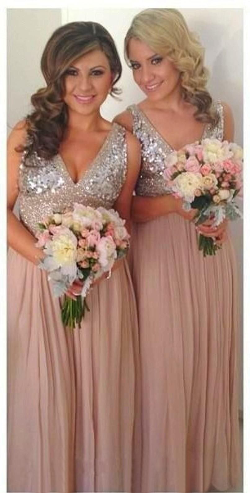 Sequins Chiffon V Neck Bridesmaid Dresses Plus Size Rose Gold Sparkly Maid  of Honor Bridal Wedding Party Gowns Maternity 2015 Custom Made 639e60a32681